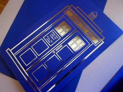 Blue Police Box Notecard silver-foiled