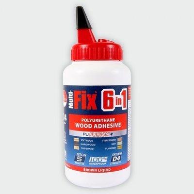 6 in 1 PU Wood Glue 5 Minute D4 Strength 750g Interior & Exterior