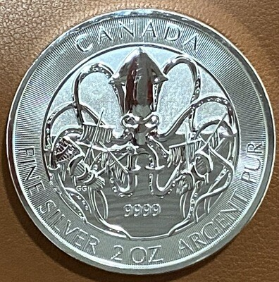2 Unze Canadian Kraken Silver Coin 2020