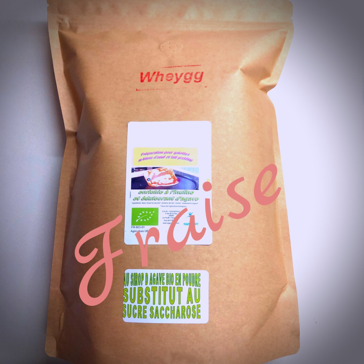 Wheygg bio: Fraise en poudre - 1 kg