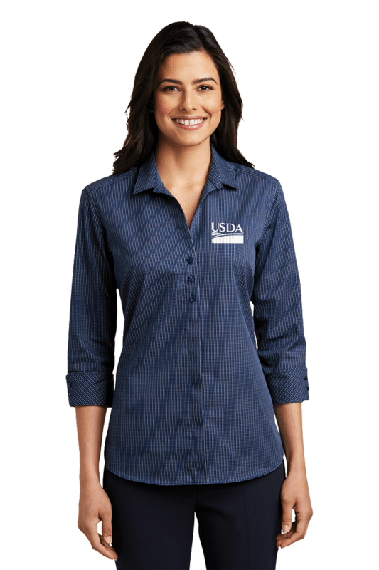 Ladies 3/4-Sleeve Micro Tattersall Easy Care Shirt by Port Authority  Custom Embroidery Available