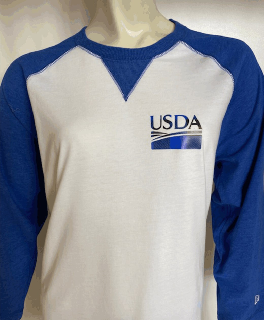 Unisex New Era Sueded Cotton Blend 3/4-Sleeve Baseball Raglan Tee Buffalo Plaid USDA Logo