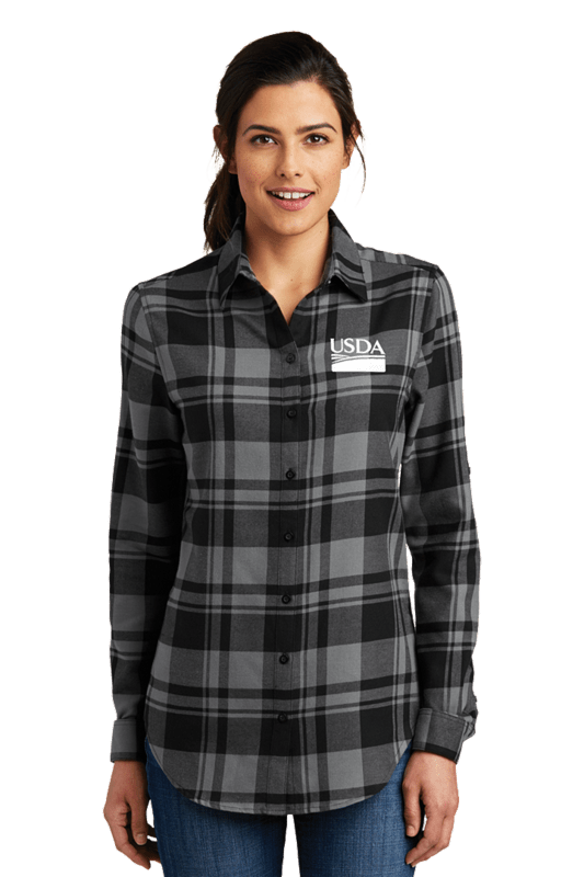 Ladies Plaid Flannel Tunic  Custom Embroidery Available