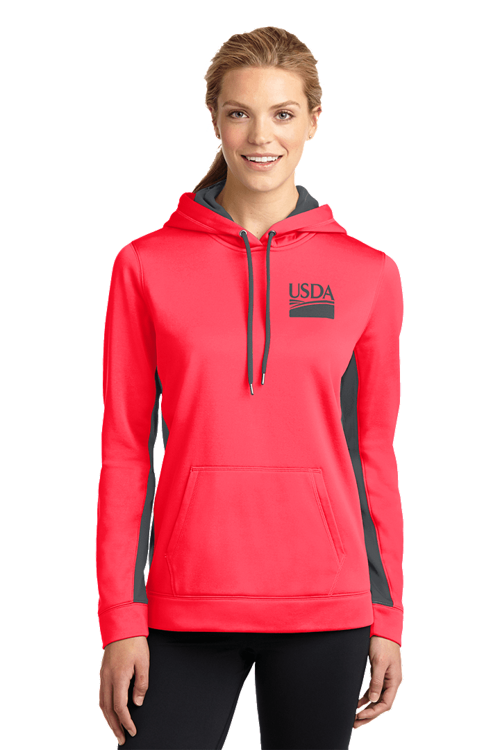 Sport-Tek Ladies Sport-Wick® Fleece Colorblock Hooded Pullover--Custom Embroidery Available