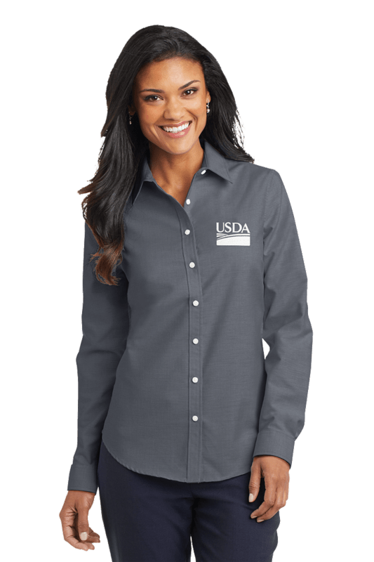 Ladies Long Sleeve Oxford Dress Shirt  Custom Embroidery Available