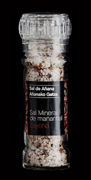 Molinillo de Sal mineral de Manantial con Cayena, 75g - Gourmet by Beites