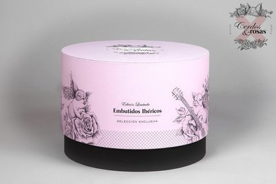 Cerdos y Rosas: Sombrerera para Regalo acabado papel geltex imitación tela