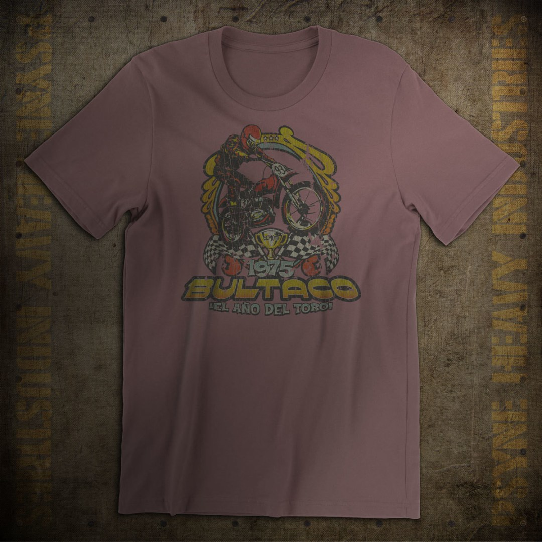 Bultaco 1975 Year of The Bull Vintage Motocross T-Shirt