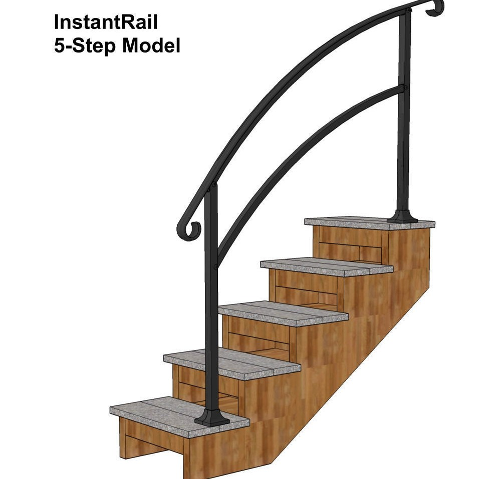 Instantrail 5 Step Adjustable Handrail Black | Railing For Concrete Steps | Stairwell | Retaining Wall | Concrete Slab Detail | Commercial | Safety