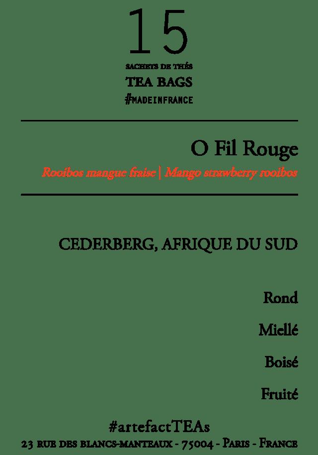 O Fil Rouge [Rooibos Mangue Fraise BIO] Sachets de Thés / Tea Bags