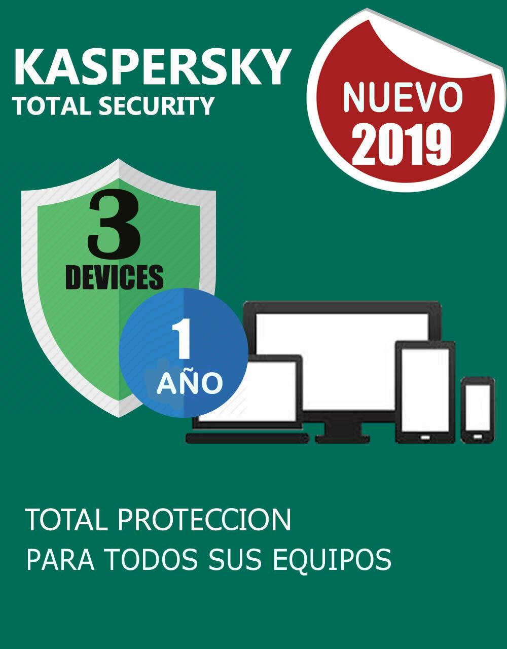 Kaspersky Total Security 3 Pc 1 Año.(Para almacenar)
