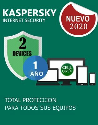 KASPERSKY INSTERNET SECURITY  2PC 1AÑO