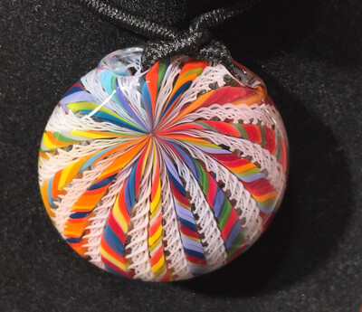 Harold Cooney Rainbow & White Zanfirico Pendant