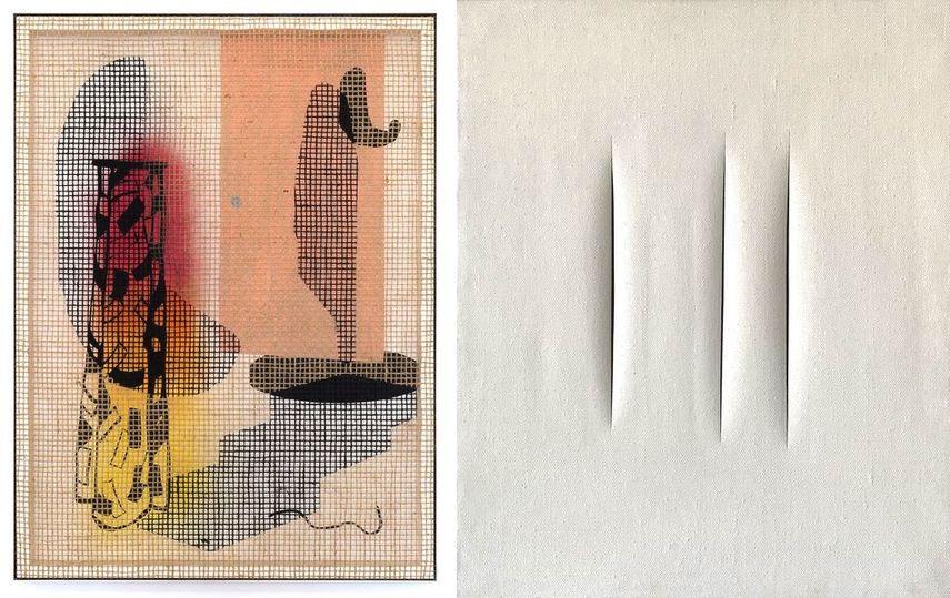 David Renggli - Floorplan Desire Painting (The Door), 2018, Lucio Fontana - Concetto spaziale, Attese, 1964-1965.