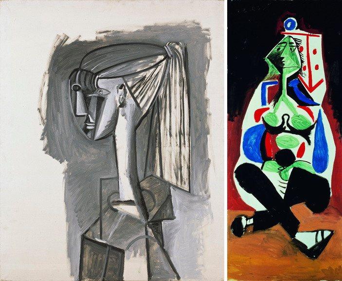 Left Pablo Picasso – Portrait de femme a la queue de cheval Right Pablo Picasso – Femme aux jambes