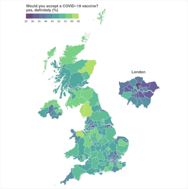 Intent to accept a COVID-19 vaccine. The estimated proportion of respondents in each of the UK's 174 NUTS3 region who would definitely accept a COVID-19 vaccine are shown.