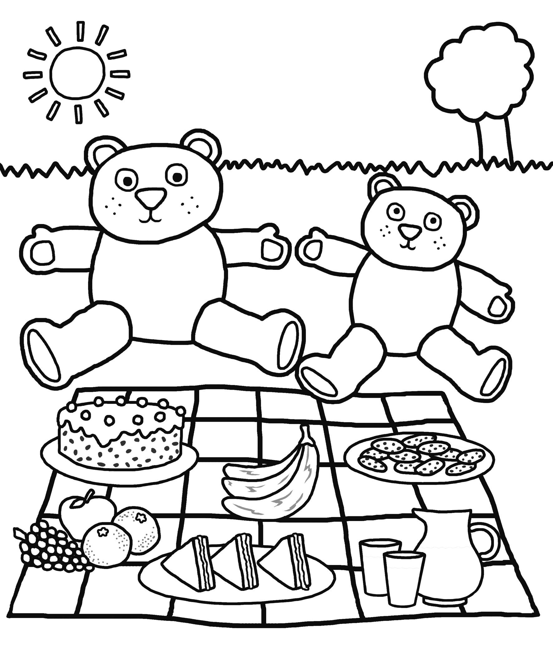 Picnic Foods Coloring Worksheet