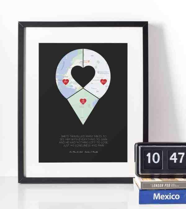 Pin Map Art Black Frame Black Print
