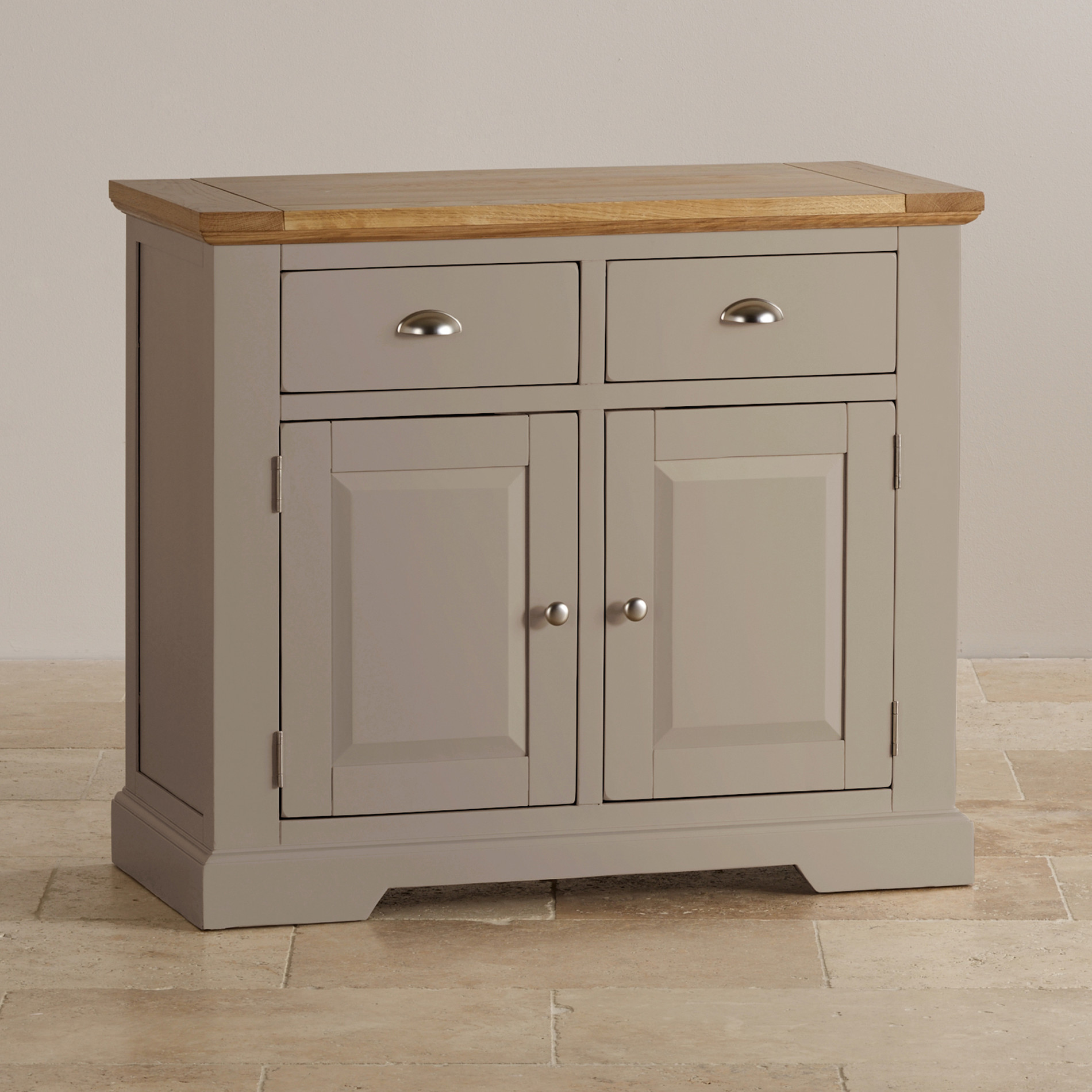 Natural Oak And Light Grey Painted Small Sideboard