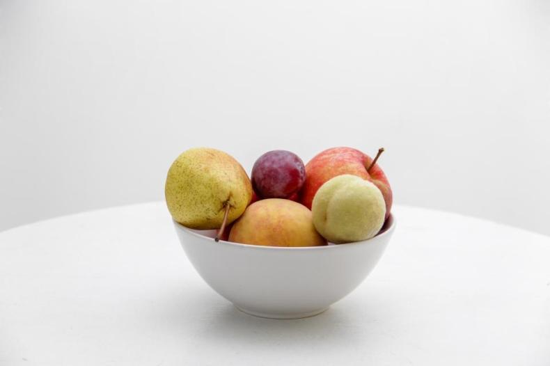 bowl food fruit juicy apple pear grapes