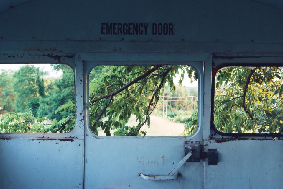 Weird Things Russia still items things emergency door steel locked vehicle warehouse view trees