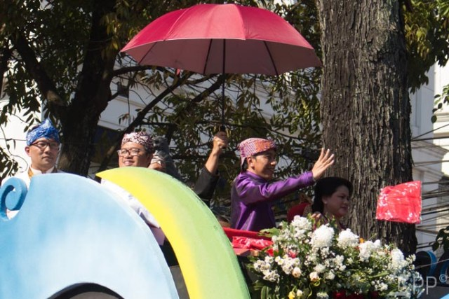 Indonesian President Jokowi from parade float