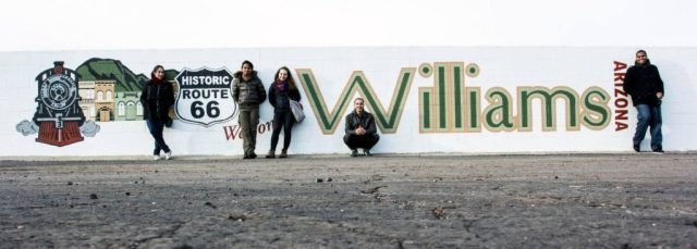 5 International Students in front of Route 66 sign in Arizona