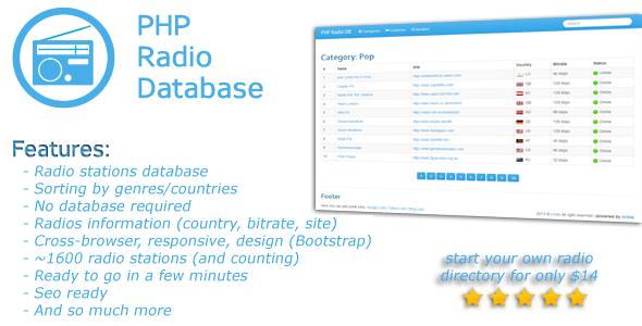 Base de données des stations de radio PHP