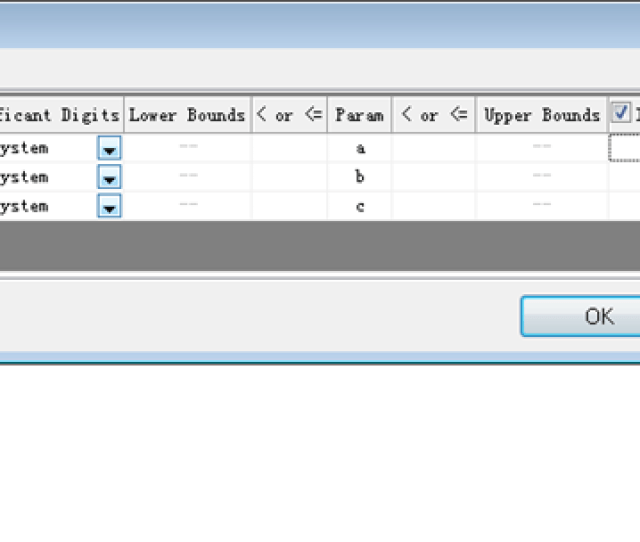 Set Initial Values In Parameter Settings Dialog