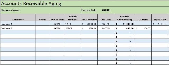 accounts receivable report template free download
