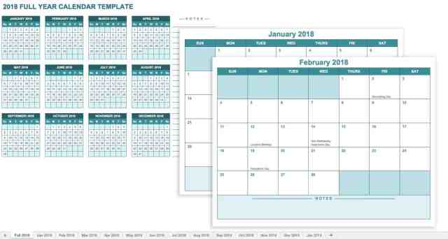 Microsoft Excel Calendar Template   Free Download