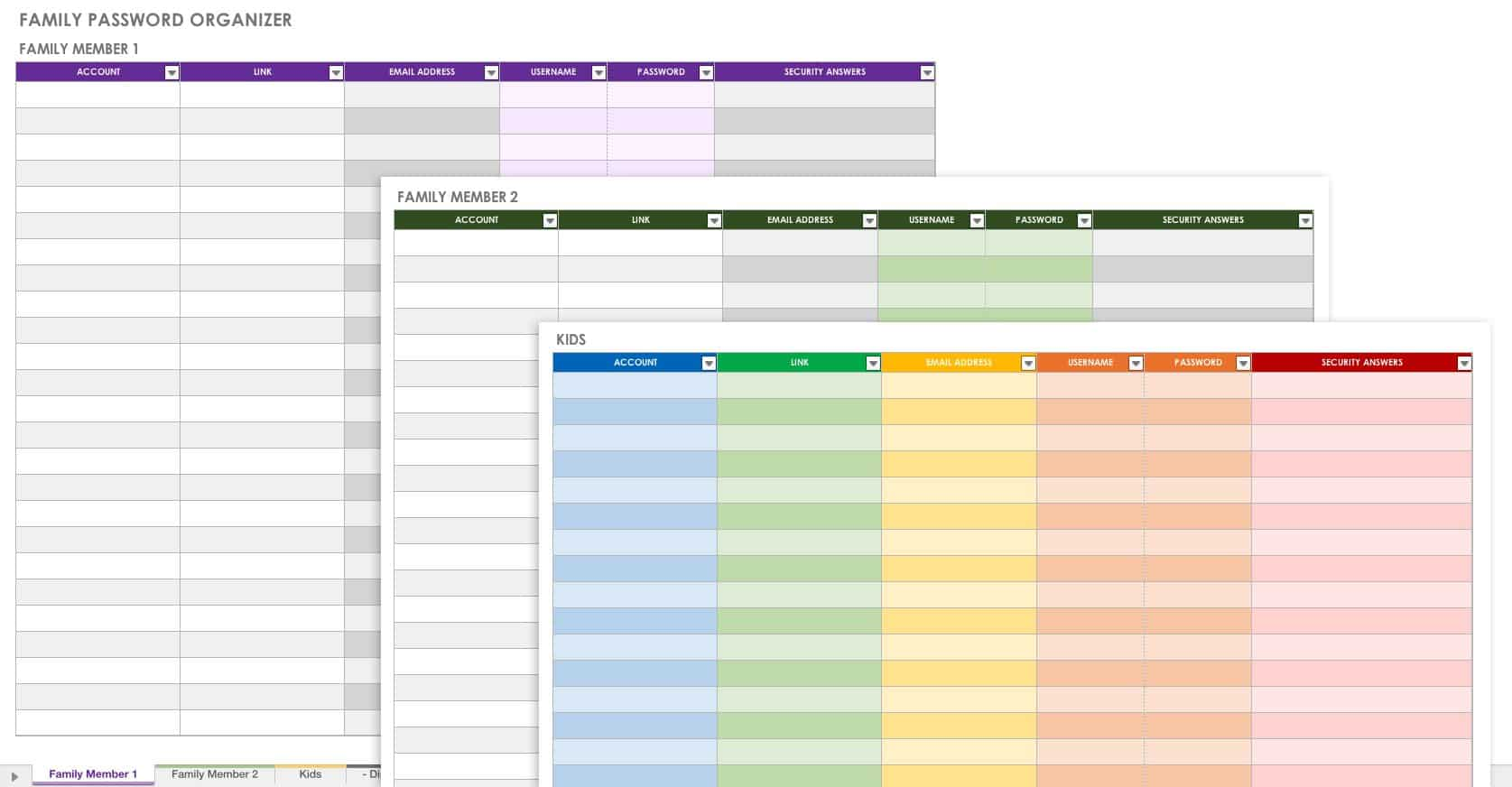 Free Password Templates And Spreadsheets