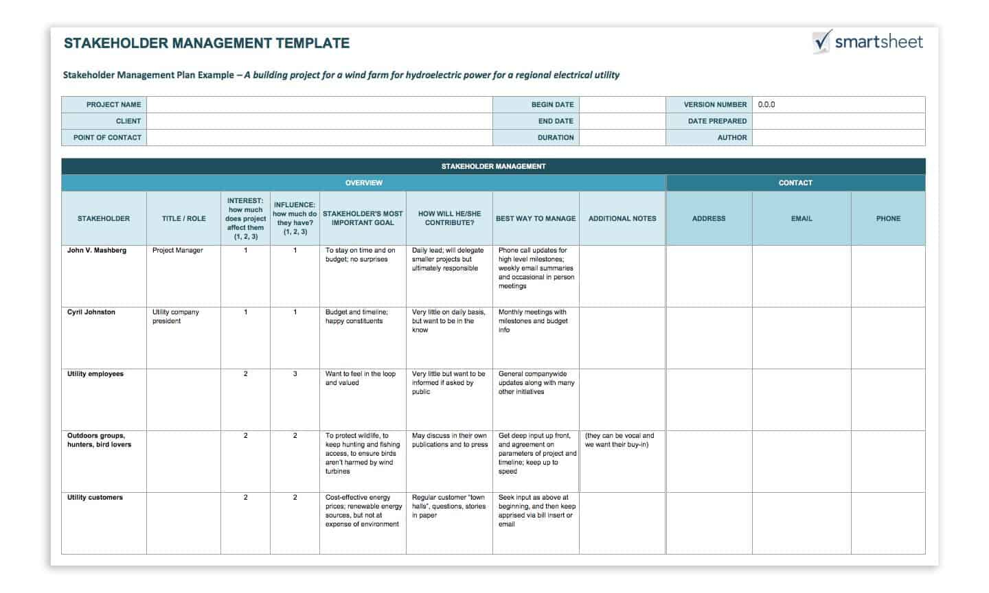 How To Create A Stakeholder Management Plan Smartsheet