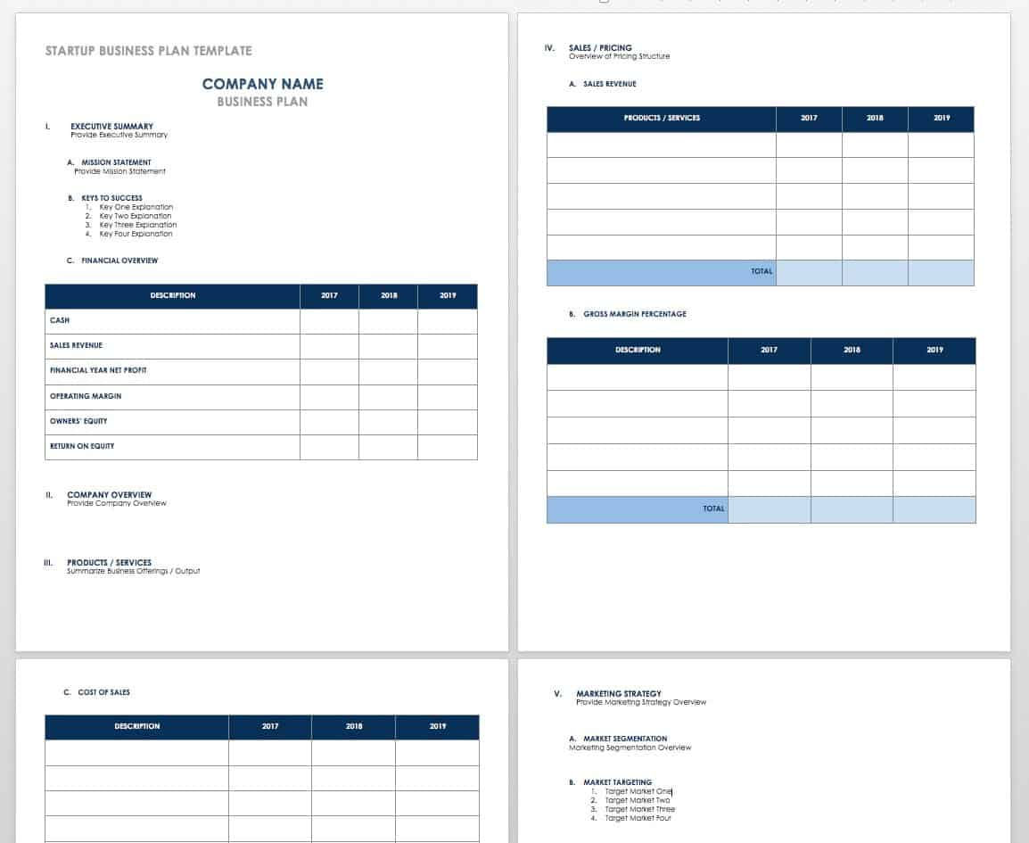 Free Startup Plan Budget Amp Cost Templates