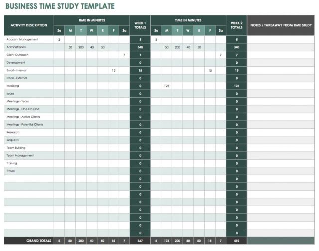 time study template excel free download 20 high