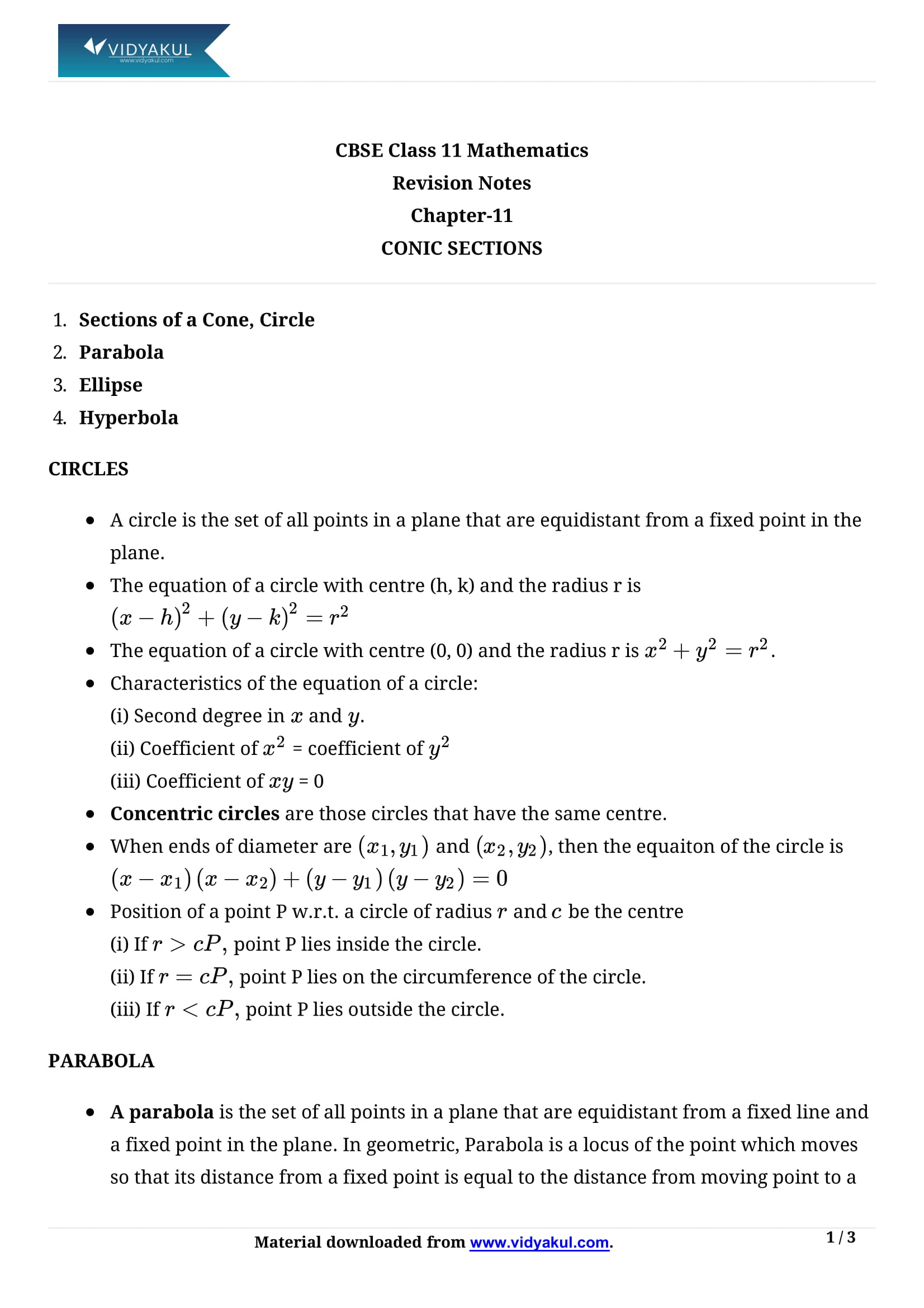 Conic Sections Class 11 Formulas Amp Notes