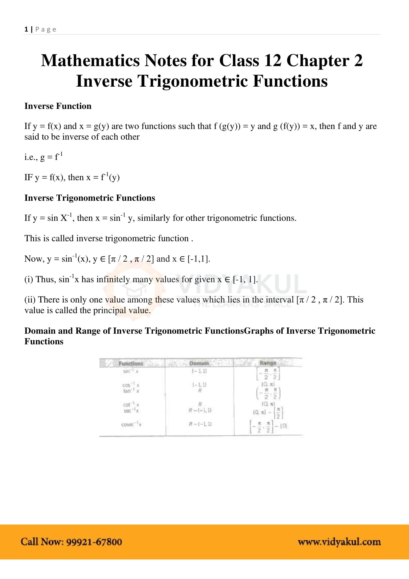Inverse Trigonometric Functions Class 12 Formulas And