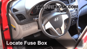 Interior Fuse Box Location: 20122017 Hyundai Accent  2013 Hyundai Accent GLS 16L 4 Cyl