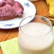 This vegan recipe for healthy banana shake or licuado de plátano uses coconut almond milk and ripe bananas for a nutritious breakfast.