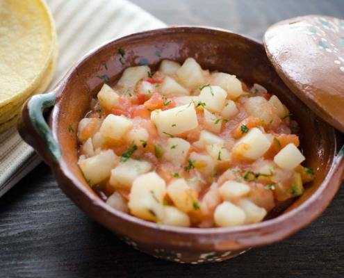 This Mexican Potato Scramble is a spicy, savory and satisfying dish with all the flavors of Mexico. Serve on warm corn tortillas with salsa.