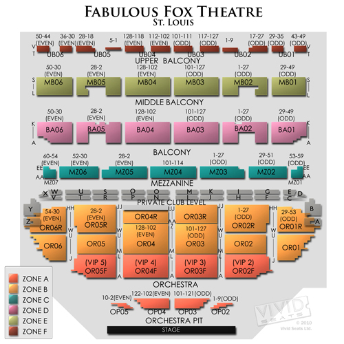 Fox Theater St Louis Seating Chart With Seat Numbers