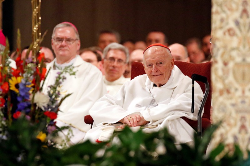 Cardinal Theodore E. McCarrick, retired archbishop of Washington, is seen during a Mass at Basilica of the National Shrine of the Immaculate Conception in Washington