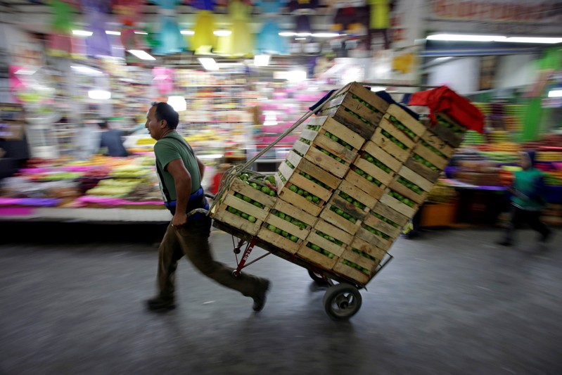 FILE PHOTO: A worker moves boxes with green tomatoes through the corridors of the wholesale market
