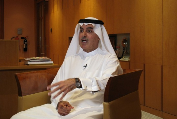 FILE PHOTO: Abdulaziz al-Ghurair, Chairman of the UAE Banks Federation and CEO of Mashreq bank, gestures during an interview with Reuters in Dubai,