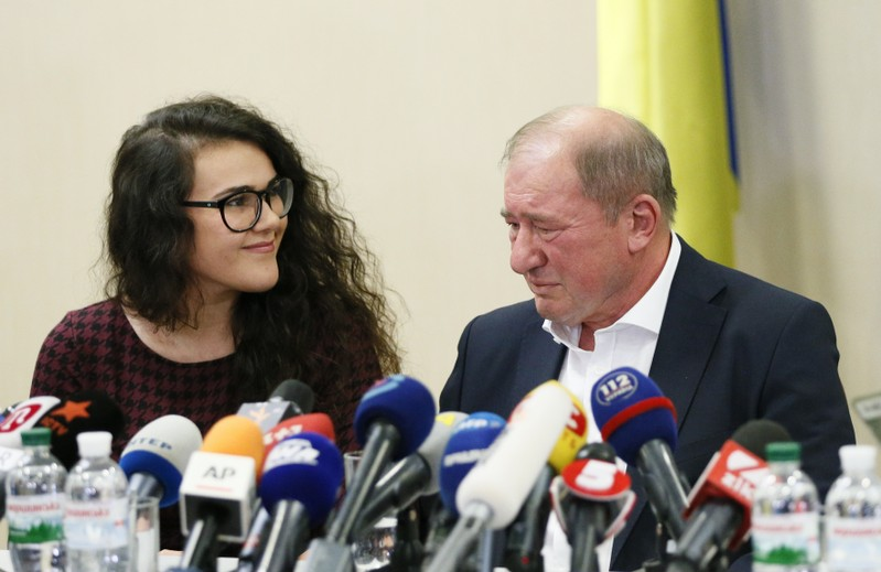 Crimean Tatar prominent activist Umerov attends a welcoming ceremony at Boryspil International Airport outside Kiev