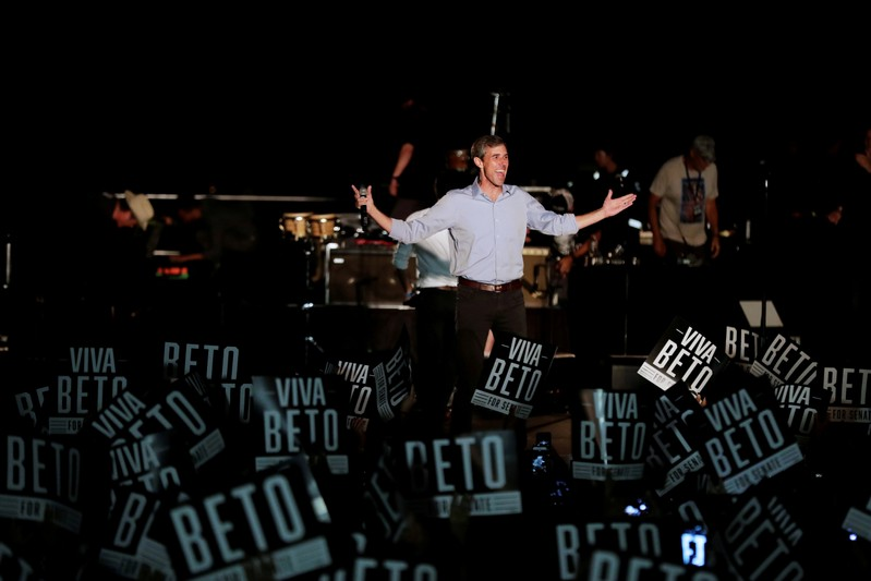 "FILE PHOTO: US. Senate candidate Beto O'Rourke comes out before singer Willie Nelson at the ""Turn out for Texas Rally with Willie & Beto"" event in Austin"
