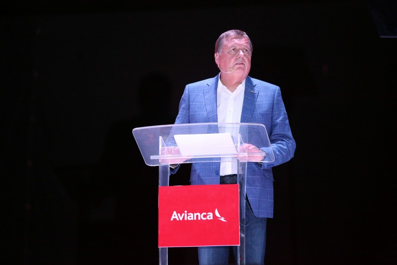 FILE PHOTO - Hernan Rincon, executive president and CEO of AVIANCA Holdings S.A., speaks during a news conference at Monsignor Oscar Arnulfo Romero International Airport in San Luis Talpa