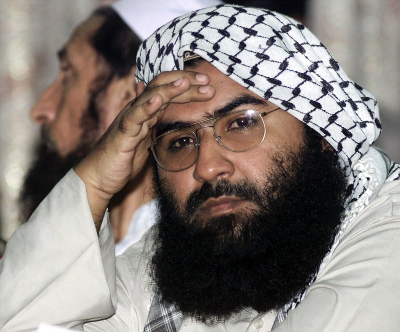 Maulana Masood Azhar, head of Pakistan's militant Jaish-e-Mohammad party, attends a pro-Taliban conf..