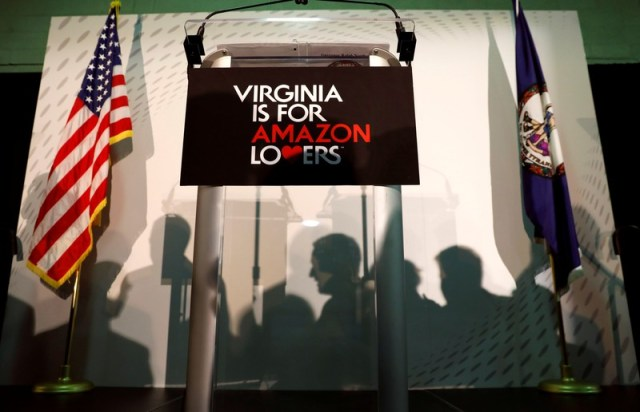 News conference about Amazon's new headquarters in Crystal City in Arlington, Virginia
