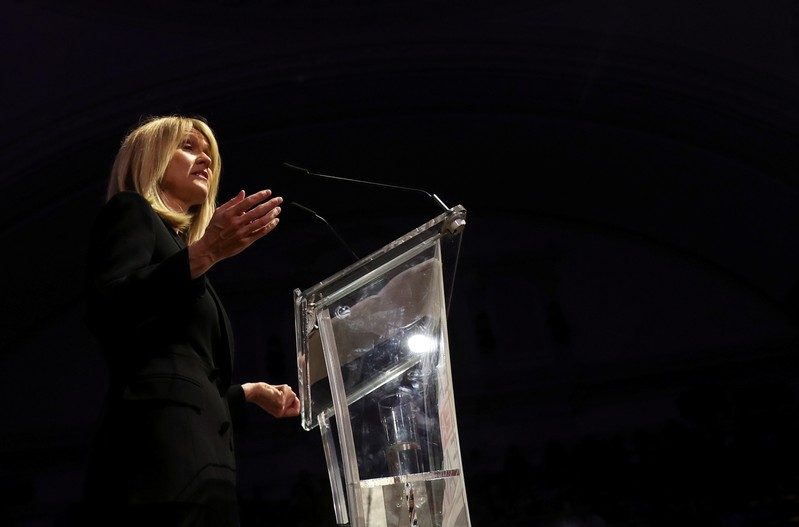 FILE PHOTO: Britain's former Secretary of State for Work and Pensions Esther McVey speaks during a